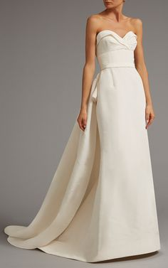 Draped Bodice Gown with Overskirt by ELIZABETH KENNEDY for Preorder on Moda Operandi