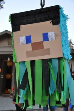 a fun piñata at a Minecraft party! See more party ideas at ! Minecraft Party, Minecraft Crafts, Minecraft Skins, 10th Birthday Parties, Birthday Fun, Birthday Party Themes, Birthday Ideas, Festa Party, Party Activities