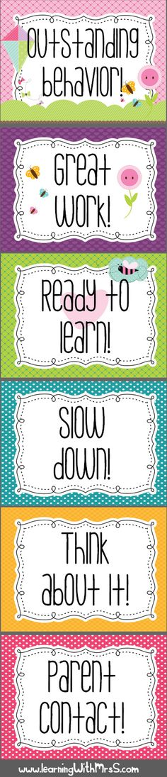 Behavior Chart - Free Printable. Love love LOVE that it has options for students to go up, not just down.