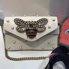 d450b75ad53 Gucci Broadway Leather Bee & Pearl Embellished Shoulder Bag 453778 White  2017