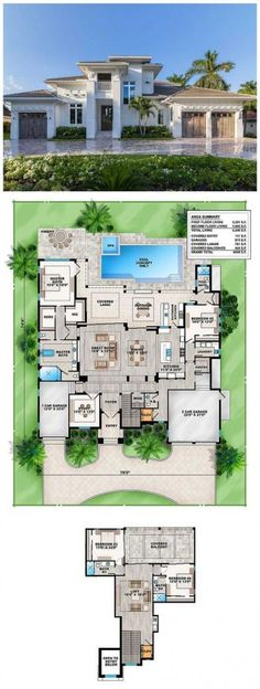 Grand Florida House Plan With a huge open layout and lots of luxurious details, this grand Florida house plan is made for high end living. Walls of sliding glass doors in the great room area not only bring in light and views, they take you outdoors to the Open House Plans, Dream House Plans, House Floor Plans, Florida House Plans, Florida Home, Huge Houses, Open Layout, House Blueprints, Outdoor Kitchen Design