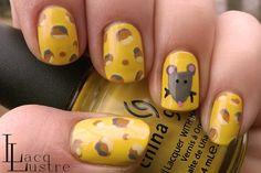 Swiss Cheese and Mouse Nail Art