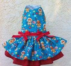 Christmas+Gingerbread+Blue+dog+dress+by+ChloeBellaDesigns+on+Etsy