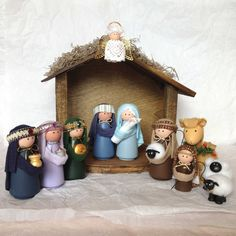 Deluxe Nativity Set - 14 Pieces Including Handcrafted Stable Handmade Nativity Sets Deluxe Nativity Set 14 Pieces Including by SweetPeasGarden Nativity Crafts, Christmas Nativity, Christmas Holidays, Christmas Decorations, Christmas Ornaments, Nativity Sets, Nativity Stable, Diy And Crafts, Crafts For Kids