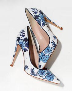 LK Bennett Blue Floral Heels