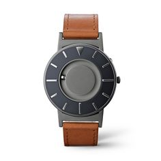 The Bradley Voyager Cobalt has silver mirrored markers shine against a dark blue-gray face with matte silver center. Crafted from Italian leather and tailored by nylon stitching with ivory reverse, the cognac leather strap gives a polished presentation wherever you voyage.