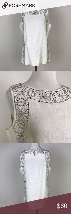 "[Tory Burch] TRB Linen Rhinestone Embellished Tank Sleeveless Linen shell with intricate rhinestone embellishment. Pullover style with hook and eye closure at back of neck. Tory by TRB (a ""vintage"" Tory Burch line).  Pit to Pit: 19.5"" Length: 25"" Condition: Excellent pre-owned condition.   *X5 Tory Burch Tops Tank Tops"