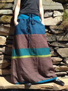 Lněná dlouhá sukeň-hnědá Tie Dye Skirt, Dressing, Bohemian, Couture, Skirts, Inspiration, Clothes, Style, Fashion