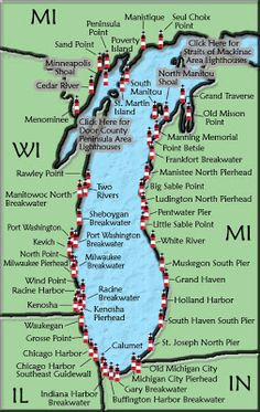 The 2012 Lake Michigan Circle Tour and Lighthouse Map is now available. This free travel map offers a source for discovering the lighthouses that dot the Lake Michigan shoreline. Michigan Lighthouse Map, Lake Michigan Lighthouses, Lago Michigan, Lake Michigan Beaches, Torch Lake Michigan, Michigan Vacations, Michigan Travel, State Of Michigan, Lake Michigan Vacation