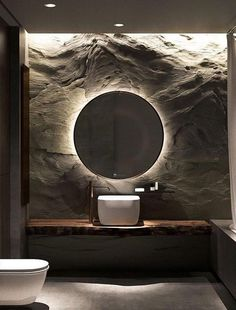 pierre naturelle #déco sombre salle de bain