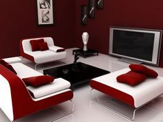 Modern Living Room Red blac red wall with wood flooring modern home interior design