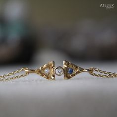 Diamond & Sapphire Bracelet in Solid 14kt Gold by ATELIER Gaby Marcos