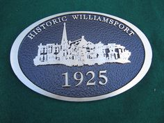 Williamsport in bronze - cast bronze plaque by Erie Landmark Company a division of Paul W. Zimmerman Foundries celebrating 75 years of plaques!   Find us on the web at www.erielandmark.com or place an order at info@erielandmark.com.