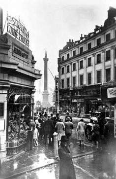 Lyons' Strand Corner House looking towards Trafalgar Square and Nelson's Column, 1920's.