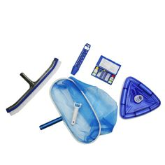 5-Piece Deluxe Swimming Pool (Blue) Kit - Vacuum Leaf Rake Wall Brush Thermometer and Test Kit