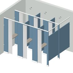 Shower and dressing dividing partitions for commercial showers and locker rooms, separate compartments to provide a dry space adjacent to shower for changing clothes and storing personal items.