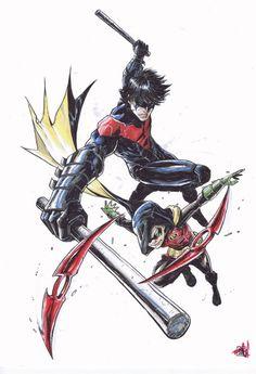 Andie Tong - Nightwing and Robin (Damian Wayne )  Comic Art