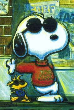 Snoopy as Joe Cool and Woodstock Standing Next to Him Wearing a Sweatshirt and Sunglasses