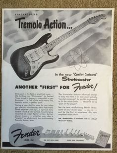 "Up for grabs is the holy grail of Fender Stratocaster advertising memorabilia.  The classic Atomic Age ""Tremolo Action"" 9 X 12 inch Strat ad from August 1954.    These are extremely rare and I can't remember the last time I saw one pop up on eBay.  Would look absolutely cool framed and hanging on the wall.   Condition is excellent given its 62 year old age and has no tear, rips or stains.  Has some minor fraying on the right side edge- see close up pic.  