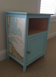 Vintage Nautical Chart Nightstand Side Table FREE SHIPPING!