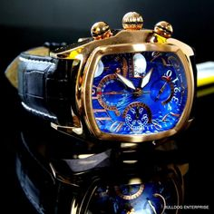 Invicta Dragon Lupah Rose Gold Plated Blue Swiss Automatic Sellita New Blue Plates, Rose Gold Plates, Cool Watches, Man Watches, Gold Chains For Men, Hand Watch, Elegant Watches, Luxury Watches For Men, Watch Case