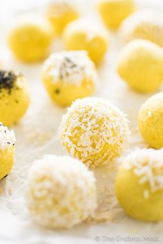 These Coconut Lemon Energy Balls are made with raw cashews, coconut, and lemon juice and zest. They're brightly flavored and a delicious pick-me-up, healthy snack recipe. | theendlessmeal.com