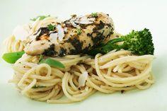herby chicken + stem broccoli + parmesan and lemon pasta = healthy springtime surprise