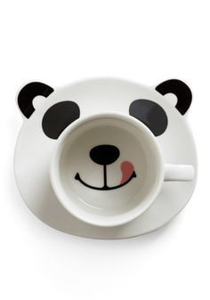 You can't possibly have a bad morning with a cute panda smiling at you. Without his matching mug, the saucer displays a frowning panda face, but that frown turns upside down as soon as heR… Panda Love, Cute Panda, Panda Panda, Panda Bears, Stars Disney, Coffee Cups, Tea Cups, Coffee Latte, Face Mug