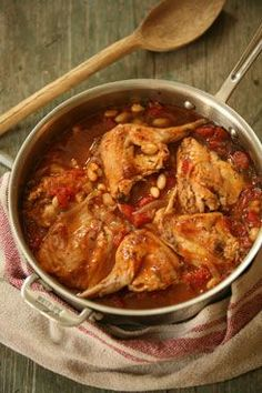 Braised Rabbit with cannellini & tarragon - I skipped beans & added mushrooms & 2tbsp tomato paste, so good!