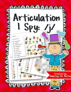 This no prep packet includes three levels of /j/ I Spy games for a fun way to focus on articulation goals:1) for students who can read the items they need to find2) for students who can match identical pictures and need a visual key3) for students who can match identical pictures using a visual key with no other distracting imagesAlso includes a picture and word list.Students can have fun searching for the pictures while practicing the /j/ sound in the initial, medial and final positions.