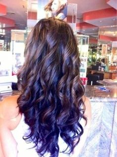 hairstyles purple | curly brunette hair with an awesome looking p[urple ombre dip mdye.