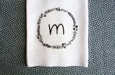 Personalized Kitchen Towel with Floral Wreath and by AppleWhite, $13.00