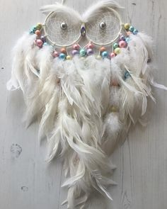 "26 Likes, 3 Comments - Dreamcatcher Lane (@mydreamcatcherlane) on Instagram: ""White with Pastel Accents Large Owl Dreamcatcher #mydreamcatcherlane #dreamcatchers #dreamcatcher…"""