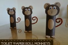 "Toilet roll monkey. Find the tutorial <a href=""http://jmanandmillerbug.com/2013/05/craft-time-toddler-fun-toilet-paper-roll-monkeys.html"" target=""_blank"">here</a>."