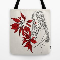 Girl with Red Flowers Tote Bag by Pommy New York - $22.00
