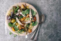 Roasted fennel, preserved lemon and sardine salad - Sardines - Sardline Italian Recipes, New Recipes, Salad Recipes, Cooking Recipes, Healthy Recipes, Great British Chefs, British Meals, Sardine Salad, Sardine Recipes