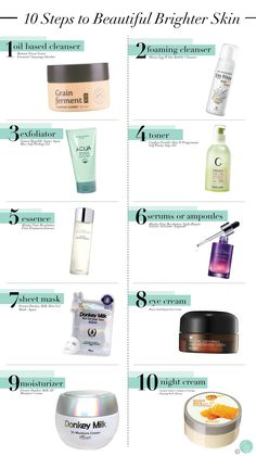 10 steps to beautiful, brighter skin with all Korean skincare products. - - 10 steps to beautiful, brighter skin with all Korean skincare products. 10 steps to beautiful, brighter skin with all Korean skincare products. Skin Care Regimen, Skin Care Tips, Skin Tips, Organic Skin Care, Natural Skin Care, Natural Beauty, Organic Makeup, Natural Makeup, 10 Step Korean Skin Care