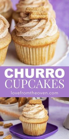 Easy Churro Cupcakes topped with churro cereal! Easy Churro Cupcakes topped with churro cereal! Easy Churro Cupcakes topped with churro cereal! Easy Cheesecake Recipes, Easy Cookie Recipes, Sweet Recipes, Good Cupcake Recipes, Simple Cupcake Recipe, Wedding Cupcake Recipes, Baking Recipes Cupcakes, Cupcake Recipes From Scratch, Easy Desert Recipes