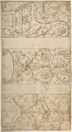 Anonymous, Italian, 16th century | Antique-Style Ornamental Frieze Design: Lettered Panels, Rinceaux, and Masks | The Metropolitan Museum of Art