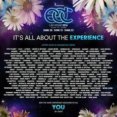 EDC 2014 Las Vegas Lineup. #EDC #ElectricDaisyCarnival #InsomniacEvents #Insomniac