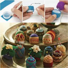 Bottle Cap Pin Cushions of These cute cushions are as decorative as they are practical. The base is a bottle cap. Felt Crafts, Fabric Crafts, Sewing Crafts, Sewing Projects, Diy Crafts, Spool Crafts, Plastic Bottle Caps, Reuse Plastic Bottles, Crazy Quilting