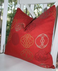 Red Pillow Gold Silver Medallion Geometric Designer Pillow Cover 18 x 18 - Throw Pillow. $45.00, via Etsy.