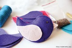 ATELIER CHERRY: Pássaros de feltro