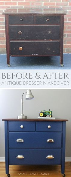 Antique dresser makeover- painted navy blue with wood stained top. Color: Champion Cobalt from Benjamin Moore