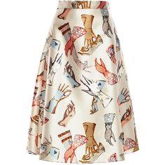 Rochas Duchesse Glove Skirt (53 715 UAH) ❤ liked on Polyvore featuring skirts, light beige, print midi skirt, white a line skirt, white midi skirt, white high waisted skirt and white knee length skirt