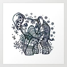 Henna Tattoo Elephant Art Print by Ravenno - $15.00