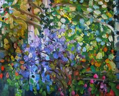"#107  ""SPRING ASPENS WITH LILACS"" www.150facesandplaces.com Art Paintings For Sale, Lilacs, Spring, Lilac Bushes, Syringa Vulgaris, Lilac Tree"