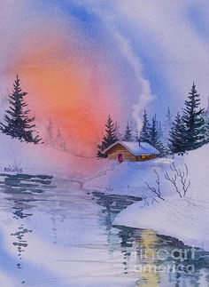 Safe and Warm. watercolor, 11 x 15