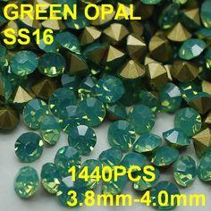 17.99$  Buy here - http://ali9q4.shopchina.info/go.php?t=32356094701 - SS16 1440pcs/bag  Fashion Opal Rhinestones for Nail Art 3.8mm-4.0mm Point Back Green Color  Nail Art Rhinestones Decoration  #buyonline