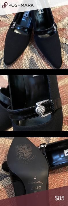 Brighton Zing Black Leather/Microfiber Heels This listing is for a pair of Brighton zing black leather and microfiber heels. Silvertone buckles with crystals. Never worn. Ladies size 8 1/2 medium. 2 inch heels. Price is firm! Brighton Shoes Heels